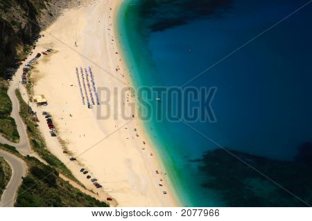 Looking Down Onto Myrtos Beach