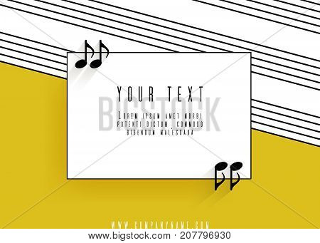 Quotes in the form of musical notes in a frame. Creative Quotation Mark Speech Bubble. Sign icon. Modern design elements. Isolated on a yellow background. Vector illustration