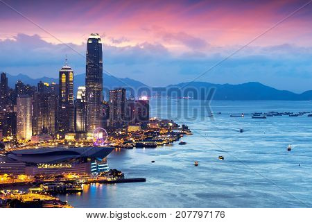 Hong Kong skyline view from Braemar hill a destination viewpoint to observe Victoria Harbour Hong Kong