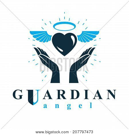 Loving heart in human hands giving aid metaphor. Holy spirit graphic vector logo best for use in charity organizations.