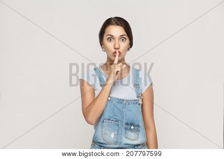 Shh Sign. Beautiful Indian Woman Looking At Camera With Silent Sign.