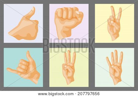 Hands showing deaf-mute different layout card design gestures human arm hold collection communication and direction design fist touch vector illustration