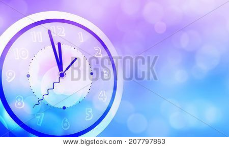 Colorful abstract bokeh blur background with clock almost to midnight.