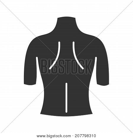 Woman's back glyph icon. Silhouette symbol. Female figure. Negative space. Vector isolated illustration