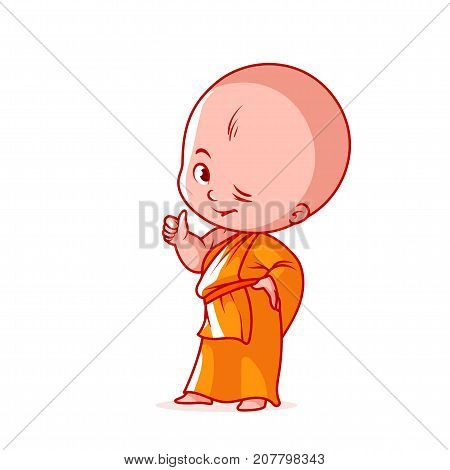 Happy Little Monk With Thumb Up.