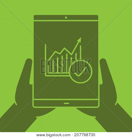Hands holding tablet computer glyph color icon. Silhouette symbol. Tablet computer with diagram and check mark. Negative space. Vector isolated illustration
