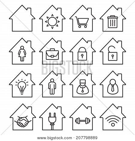 Houses linear icons set. Thin line contour symbols. Home buildings with sun, shopping cart, wastebasket, man and woman, briefcase inside. Isolated vector outline illustrations