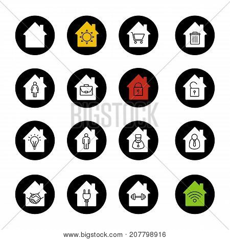 Houses glyph icons set. Home buildings with sun, shopping cart, wastebasket, man and woman, briefcase inside. Vector white silhouettes illustrations in black circles