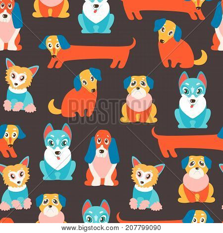 Seamless vector pattern with cute cartoon puppies. Different breeds - dachshund, husky, retriever, pug, Chinese crested and basset. Bright colors.