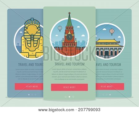 Travel composition with famous world landmarks Giza, Moscow, Beijing. Travel and Tourism. Concept website template. Vector illustration