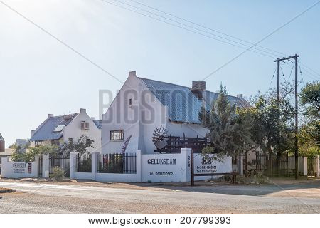 OLIFANTSHOEK SOUTH AFRICA - JULY 7 2017: The Geluksdam guest house in Olifantshoek a town in the Northern Cape Province of South Africa