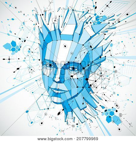 Futuristic 3d vector background made using Bauhaus elements. Head of woman exploding with thoughts created in low poly style can be used in posters and presentations on subject of human imagination.