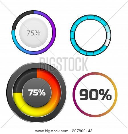 Progress loading bar indicators download progress web design template web interface upload vector illustration. Simple file loader ui-ux bright downloading time indication graph.