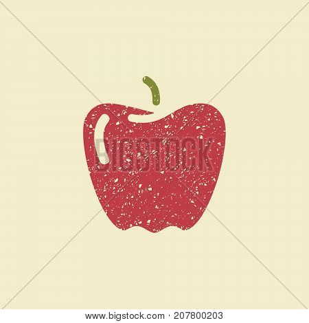 Icon of a paprika. Stylized drawing with colored pencils