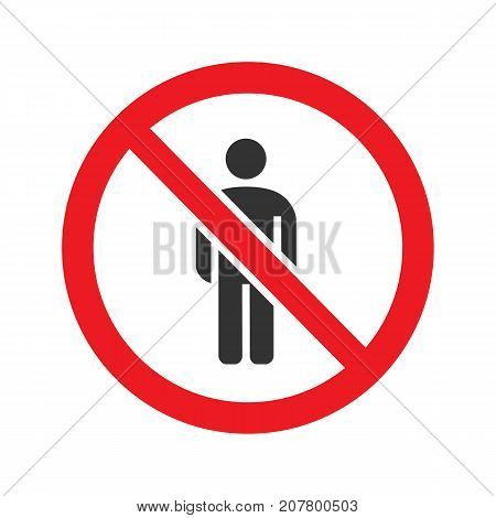 Forbidden sign with man silhouette glyph icon. Stop silhouette symbol. No men prohibition. Negative space. Vector isolated illustration