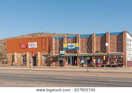 OLIFANTSHOEK SOUTH AFRICA - JULY 7 2017: A shopping centre in Olifantshoek (elephant corner) a town in the Northern Cape Province of South Africa