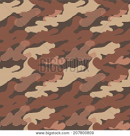 Military Striped Seamless Pattern. Camouflage Background. Camo Fashion Texture. Army Uniform. Vector illustration