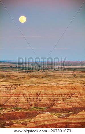 Scenic view at Badlands National Park South Dakota USA at sunset