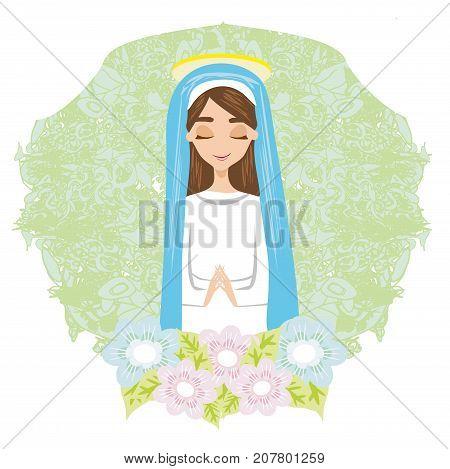 Holy Mary christian religion  card , vector illustration