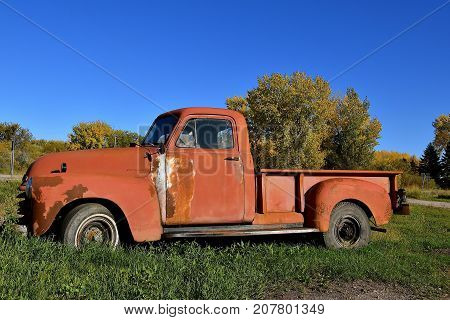 DOWNER, MINNESOTA, October 4, 2017: The old rusty 40`s pickup colloquially referred to as Chevy and formally the Chevrolet Division of General Motors Company