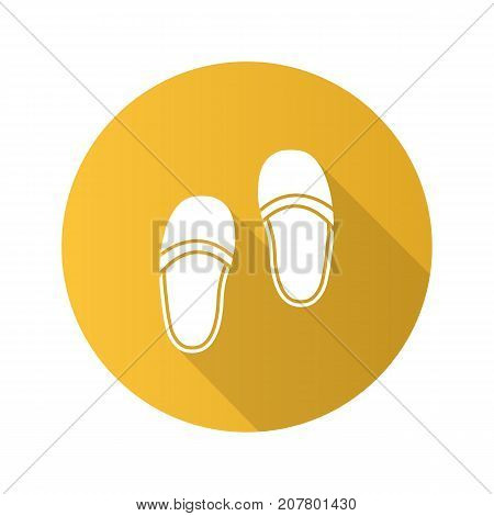 Bedroom slippers flat design long shadow glyph icon. Vector silhouette illustration