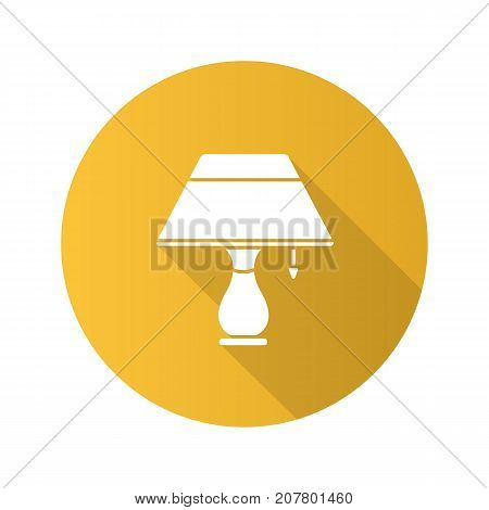 Table lamp flat design long shadow glyph icon. Vector silhouette illustration