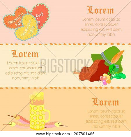 Three Horizontal Flyers to Oktoberfest Festival with Space for Text and Traditional Oktoberfest Symbols. Background in Pastel Colors. Gothic Type Script. Vector EPS 10