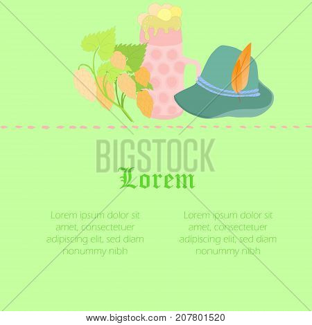 One Piece Octoberfest Flyer with Beer Mug, Bavarian Traditional Hat and Hop Twigs. Large Space for Text. Vector EPS 10