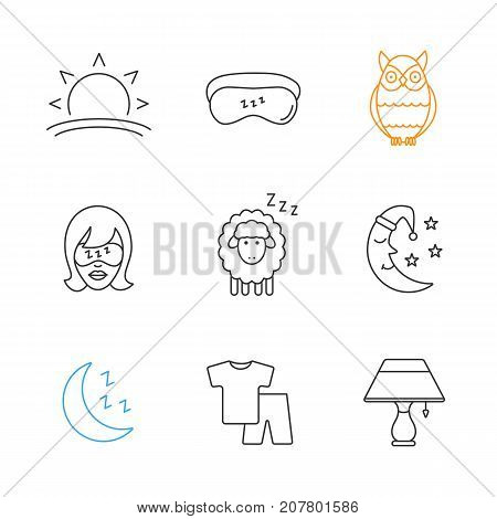 Sleeping accessories linear icons set. Thin line contour symbols. Sunset, woman with sleeping mask, owl, sheep, moon, pajamas, table lamp. Isolated vector outline illustrations