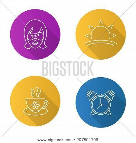Morning flat linear long shadow icons set. Sleeping woman, sunrise, alarm clock, herbal teacup. Vector outline illustration