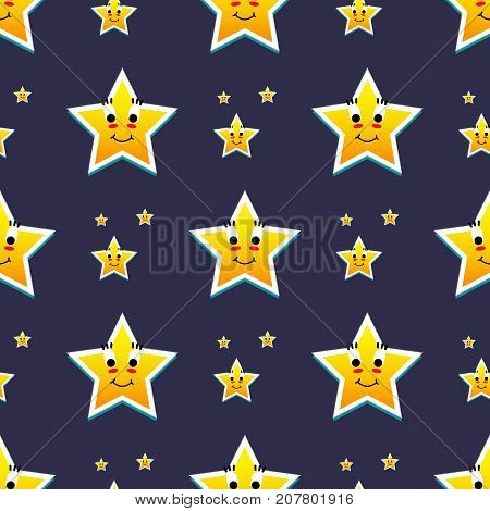 Different style shape silhouette shiny star seamless pattern vector illustration. Pointed pentagonal gold award. Abstract design star symbol. Vector shape graphic element on blue background