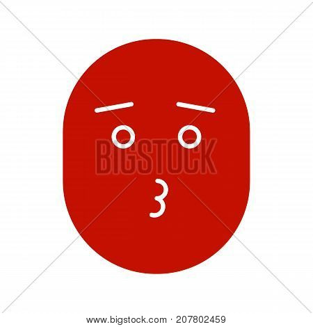 Kissing smile with open eyes glyph color icon. Romantic mood. Silhouette symbol on white background. Negative space. Vector illustration