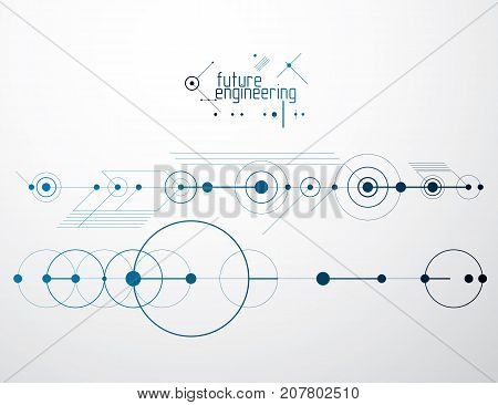 Vector industrial and engineering background future technical plan. Abstract blueprint of mechanism mechanical scheme.