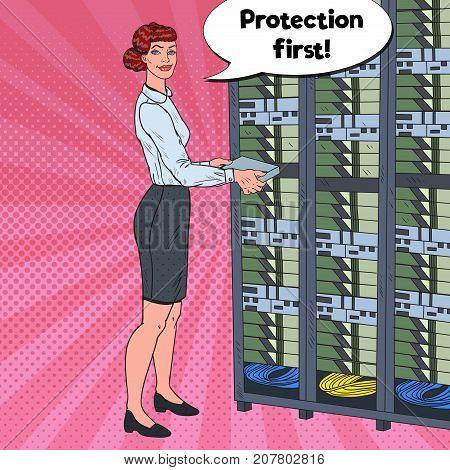 Pop Art Female Network Engineer Working with Hardware Data Center. Build Server Database. Technicianin Server Room. Vector illustration