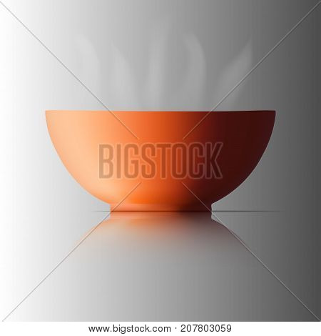 brown ceramic cup. For food with heat. Smoke from the heat and Have shadow on the floor. Vector illustration.