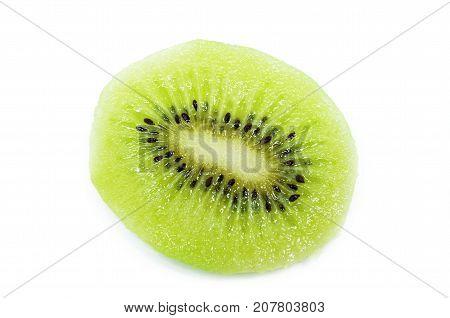 Kiwi Fruit, Slice Of Qiwi Isolated On White Background