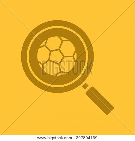 Football game search glyph color icon. Silhouette symbol. Magnifying glass with soccer ball. Negative space. Vector isolated illustration