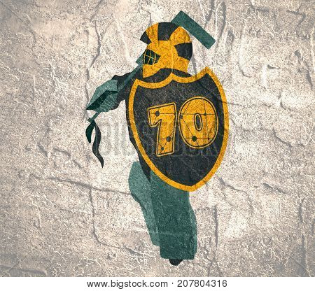 Illustration of ice hockey goalie with knight shield. Sport metaphor. Sportsman as ancient warrior. 70 number decorated by lines and dots pattern. Grunge distress texture.