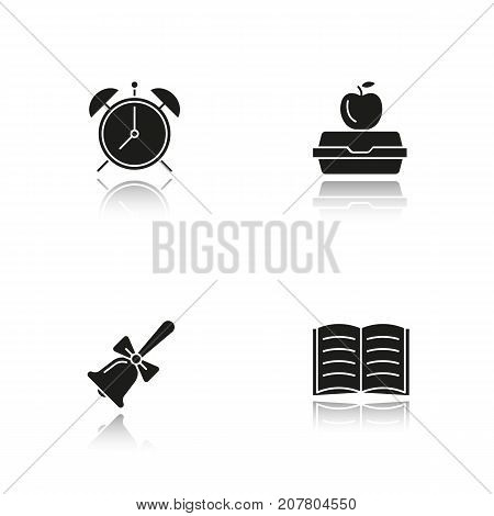School drop shadow black glyph icons set. Alarm clock, school bell, lunch box, open book. Isolated vector illustrations