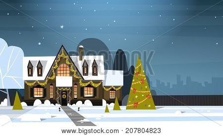 Winter Suburb Town View Snow On Houses With Decorated Pine Tree, Merry Christmas And Happy New Year Concept Flat Vector Illustration