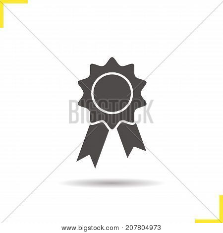 Seal stamp with ribbon glyph icon. Drop shadow award silhouette symbol. Negative space. Vector isolated illustration