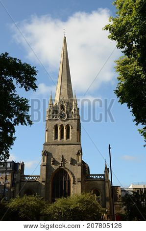 A church tower and spire in the heart of London