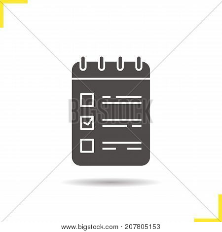 To do list glyph icon. Drop shadow notepad silhouette symbol. Spiral notebook with tick mark. Negative space. Vector isolated illustration