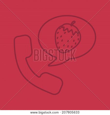 Phone sex linear icon. Handset with strawberry inside speech bubble. Thin line outline symbols on color background. Vector illustration
