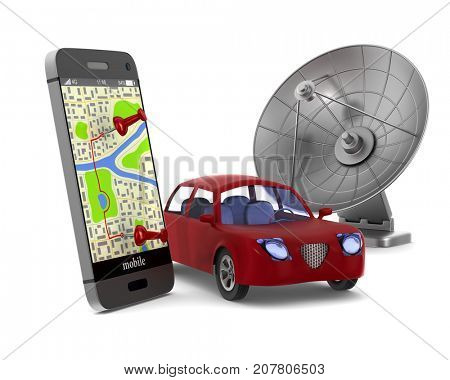 Navigation in phone. Isolated 3D illustration