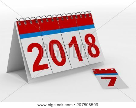2018 year calendar on white backgroung. Isolated 3D illustration