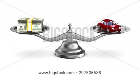 car and money on scale. Isolated 3D illustration