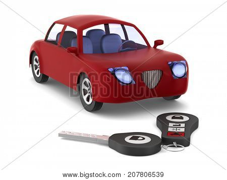 Red car and key on white background. Isolated 3D illustration