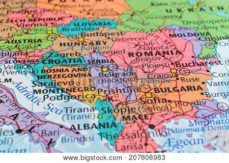 Eastern Europe in Atlas, the concept of travel.