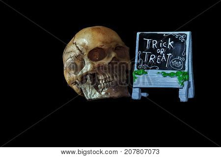 Halloween concept : Low key image of skull model and ceramic Trick or Treat sign isolated on black background